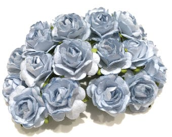 Dusky Blue Open Mulberry Paper Roses Or072