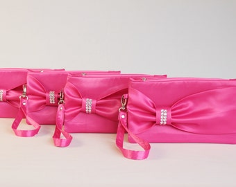 Big sale - Satin fuchsia bow wristlet clutches ,bridesmaid gift ,bridesmaid clutch ,wedding clutch ,clutch ,piece 9.90 USD