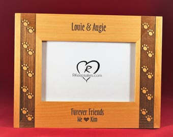Pawprints Pet Personalized Picture Frame, Dog, Cat, Loss of Pet, Any Text