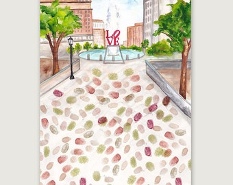 SALE! Philly Love Park Thumbprint Guestbook, Wedding Thumbprint Guestbook, Alternative Guestbook, Bridal Shower Guestbook, Wedding Gift Idea