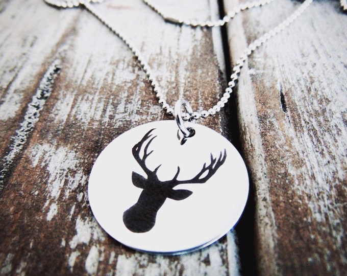 Deer Necklace - Steel, Gold or Rose Gold -  Stag/Deer/Antler Pendant - Customized Back Option - Engraved Silhouette Deer head Graphic Charm