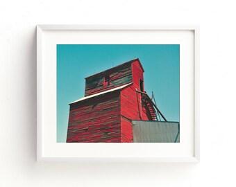 "grain elevator, fine art print, wall art, large wall art, large wall art, farmhouse decor, farmhouse wall art, home decor, art - ""Old Red"""