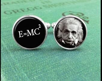Albert Einstein Cufflinks, E=mc2 Cufflinks, Science Cufflinks, Geek cufflinks, Math Cufflinks, Gift for Teacher, Physic Cufflinks, Gift Idea