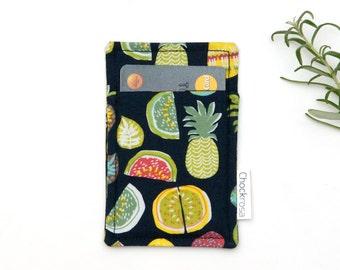 Tropical thin wallet, Minimalist wallet, Business card holder, Business card case, Slim card wallet, Pineapple, Banana, OOAK, Tropical