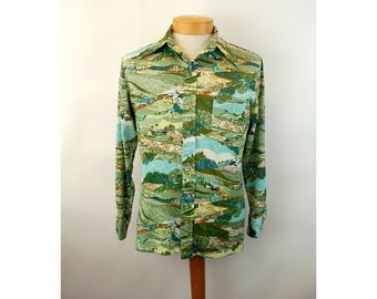 1970s disco shirt novelty shirt polyester shirt with pocket Creations by Jasons Clarke Size M