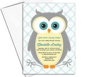 Woodland theme baby shower invitation gender neutral, owl baby shower invites, cute woodland animal, yellow, gray, mint - PRINTED - WLP00784