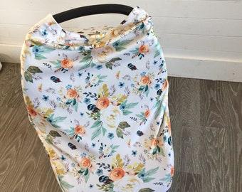 Cover covers shell multi-use beige orange boho floral nursing scarf