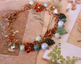 Fairy tale Charm Bracelet, ROSES and SNOWDROPS, FREE Aust Shipping