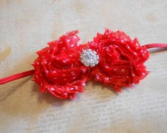 mini shabby chiffon on skinny elastic-red with white polka dots-newborn to adult