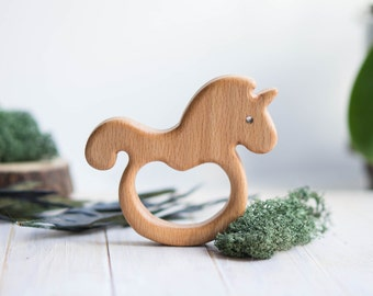 Organic Wooden Teether. Beech Unicorn Teething Toy.  Hand-carved Teether. Natural Baby Toy. Eco Friendly Infant Toy. Newborn gift.