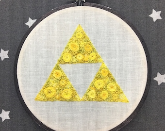 Floral Pop Triforce Hand Embroidery - Original 4 inch Needlework Fan Art