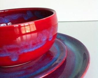 Handmade Stoneware Red Dinnerware - 3 Piece Set