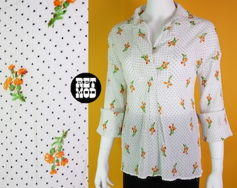 Easy Breezy Vintage 70s White Gauze Cotton Blouse with Black Polkadots & Orange Flowers - COMFY