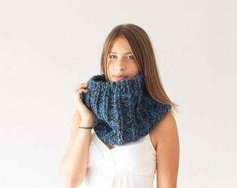 Sales Knit collar blue shoulder warmer slouchy neck warmer chunky cowl neckwarmer