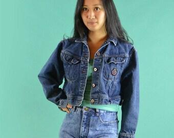 Vintage Lee Denim Jacket Tiny Shrunken Fit Dark Wash Denim Jacket Distressed Denim Jacket Lee Cropped Blue Jean Jacket Small Medium