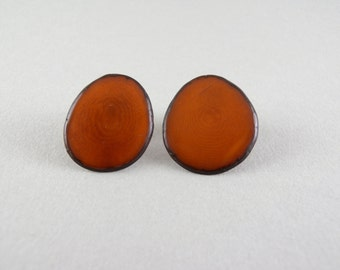Camel Brown Tagua Nut Post Eco Friendly Earrings with Free USA Shipping