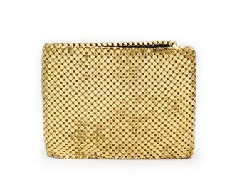 Whiting and Davis Vintage 1960s Mesh Billfold Wallet Gold-Tone Metal Signature Mesh Style Small Wallet USA