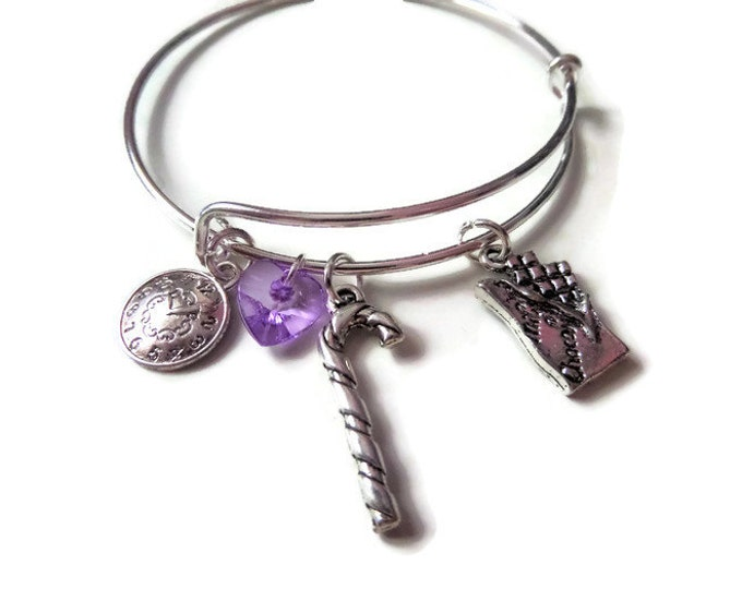 CHARLIE & CHOCOLATE FACTORY inspired expandable silver tone bangle Willy Wonka fan gift jewellery Uk