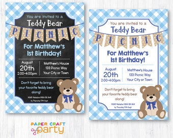 Teddy Bear Picnic Invitation - Blue - Printable Teddy Bear Invite - Instantly Download and Edit at Home with Adobe Reader TB10