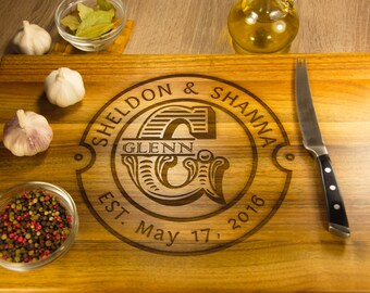 Large Cutting Board engraved Monogram. Walnut, Oak, Elm, Wedding Gift, Anniversary Gift, Natural Wood Cutting Board Custom