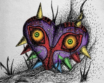 Majora's Mask- A4 print- Legend of Zelda Inspired- Free worldwide shipping
