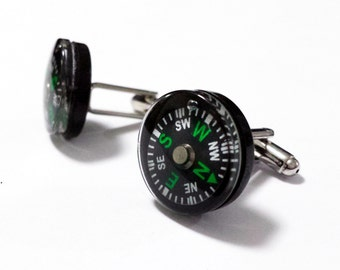 cufflinks with working compass