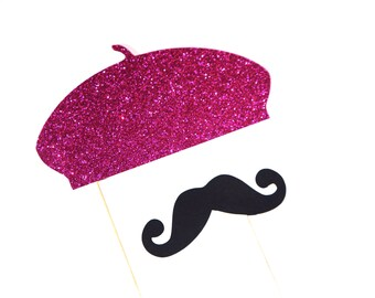 Photo Booth Props - HOT PINK GLITTER Beret and Mustache Set - Set of 2 Props - Birthdays, Weddings, Parties - Photobooth Props