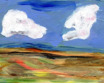RESERVED Woven Landscape II //  original  /   painting  /  one of a kind painting on a canvas panel  / cloudy sky two clouds