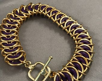 Purple Rubber Rings in Vertebrae Weave Bracelet