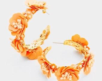 Flowers Hoop Earrings Gold/Peach