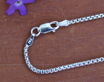 22 inch Round Box Chain Italian Sterling Silver Chain Necklace with Sterling Lobster Claw Clasp