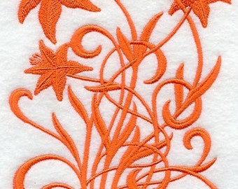Blooming Lily Filigree Design Embroidered Flour Sack Hand/Dish Towel
