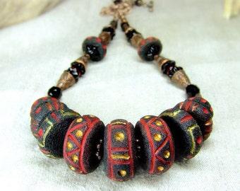 Ethnic rustic necklace. OOAK