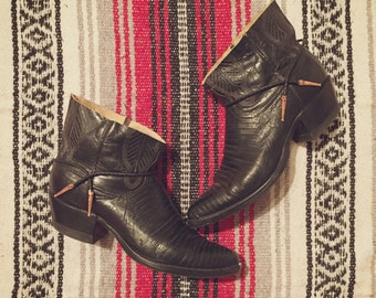 Vintage Santiags Upcycled Dan Post noir avec rosegold taille 8