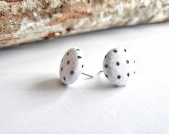 Super Cute Black and White Polka Dot Handmade Fabric Stud Earrings