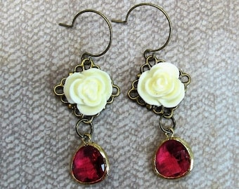 SPRING SALE Shabby Chic style earrings cream rose pink earrings gift ideas for her Victorian