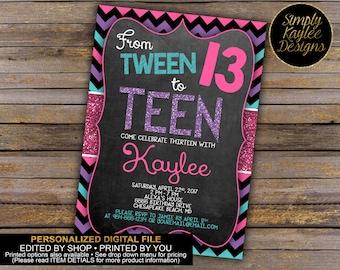 Tween to Teen 13th Birthday Party Invitation