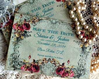 Vintage Wedding Save the Date Cards Handmade by avintageobsession on etsy