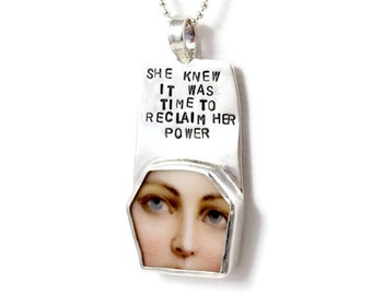 Silver Inspirational Jewelry, Sterling Meaningful Jewelry, Sterling Strength Jewelry, Robin Wade Jewelry, Reclaiming Her Power Pendant, 2283