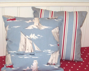Nautical Cushion Covers,  Pale Blue, 16x16, Pillow Covers, Seaside, Nautical Pillow Shams, Stripes, Sailing Boats, Lighthouses, Set of Two
