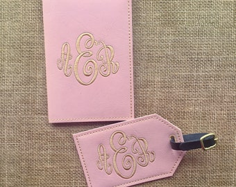 Graduation Gift Luggage tag and passport cover set - Faux Leather - Travel Accessories - Monogram Gift Initial Embroidered