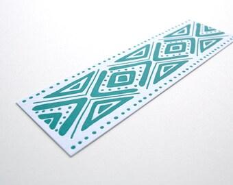 Teal Pattern Letterpress Bookmark | gift for book lover bookworm book nerd reader