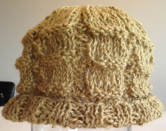 Curry Hat. Beanie. Hand Knit. Yellow. Tan. Hemp / Wool Blend. All Natural Fibers.