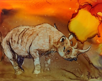 Rhino at Sunset Original 5x7 Alcohol Ink Painting AIArt