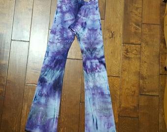 Yoga Pants, Small Size, Womens yoga pants, Tie Dye Yoga Pants, Royal Apparel, Cotton Boho Pants, Bohemian, Festival pants, workout pants