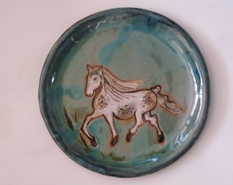 "APPALOOSA HORSE PLATE, Blue/green Pottery Plate with Horse, 8"" Lunch/Bread Plate, Painted Pony Plate,  SpottedHorse"