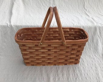 knitting supplies tote basket with handles Cherry wood