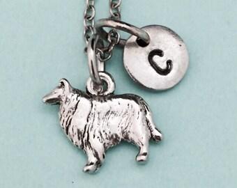 Collie necklace, collie charm, animal necklace, personalized necklace, initial necklace, initial charm, monogram, animal jewelry, dog charm