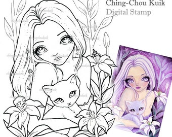 Dreamy Lily - Digital Stamp Instant Download / Fantasy Art by Ching-Chou Kuik