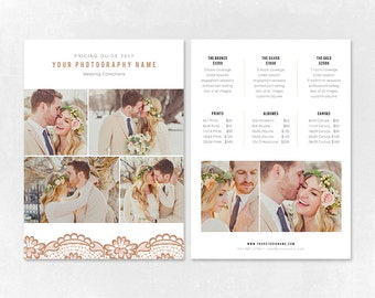 Photography Pricing Template - Price Guide List for Photographers - Wedding Photographer Photo Price Sheet - Price Guide - PG006